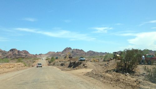 The temporary road shown when heading south from La Ventana to San Felipe.